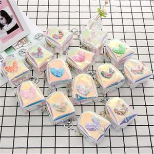 11 estilos Láser corazón bolsa de la moneda llavero corta mini cartera cambio de dinero bolsa de fiesta favor del regalo de los niños bolsa k0401