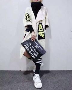 Moda-2016 Yeni Kadın Bireysellik Aplikler Uzun Hırka Moda Kalın Örme Kazak Ceket kadın Kazak Şal Ve Pançolar