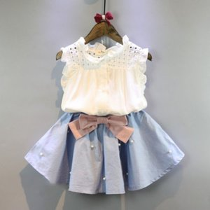 2019 Summer Kid Baby Girl Ruffle Neck Sleeveless Shirt Blouse Tops+Bowknot Tutu Mini Skirt Dress 2Pcs Clothes