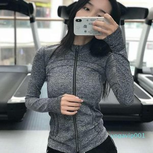 New spring yoga fitness sports jacket female long-sleeved stretch quick-drying running clothes full zipper long-sleeved top