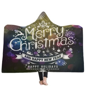 Merry Christmas Manta con capucha Fleece Wearable Throw Blanket Niños adultos Regalo de Navidad Warm Cloak Capes Textiles para el hogar GGA2589