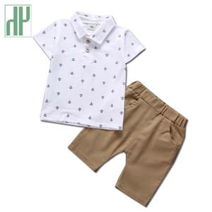 Baby Boys летняя одежда Якорь печати детская одежда мальчиков футболка + короткие 2 шт. Комплект мультфильм Baby спортивный костюм девушки бутик наряды