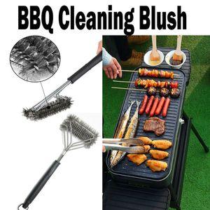2019 Il nuovo acciaio inossidabile Griglia per barbecue spazzola di pulizia Filo Cleaner esterna barbecue Clean Tool con manico barbecue pulizia Grill Brush