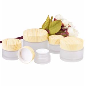 5g 10g 15g 30g 50g tarros cosméticos Scrub botella vacía maquillaje de la cara Crema recargables Los recipientes Botellas de embalaje con madera del grano Cap GGA2126