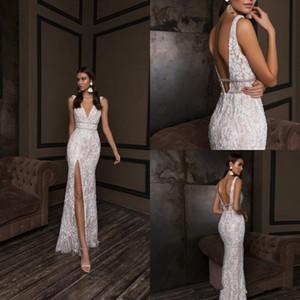 Crystal Design Mermaid Wedding Dresses V Neck Backless Bridal Gowns Front Slit Custom Lace Wedding Dress Plus Size 2844