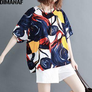 DIMANAF más el tamaño de las mujeres camisetas Señora básico de la túnica tes de las tapas O-Cuello de ropa femenina algodón de la manera impresión camiseta floja 2019 de verano T200517