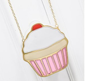 2020 Dondurma Çanta Moda 2D Komik Dondurma Cupcake Çanta Messenger Fermuar Çanta Çanta Crossbody Ekleme Vücut Anahtar Çanta