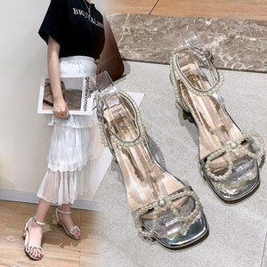 BWB Women's Sandals In One Word Silver Pearl Bow Ribbon Thin Straps Wild Medium Heel Thick Women's Shoes Summer Footwear