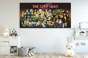 Simpsons klasik Anime duvar Halk Sanat tuval boyama HD resim yapıt Poster ve baskılar Çocuk Odası Modern dekorasyon
