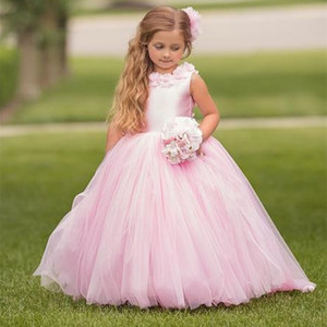 Beautiful Pink Flower Girl Dress for Wedding Party Prom Princess Pageant Gown Party First Kids Communion Appliques Dress With Flowers