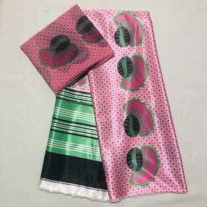 4Y + 2 Yards vendita calda rosa corea chiffon tessuto di pizzo di seta stampato modello africano raso liscio materiale per il vestito LS10-8