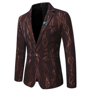Mens Blazer chaqueta hombres Blazer Casual traje chaqueta moda brillante rayas impreso Blazer Slim Fit negocios Formal hombres trajes