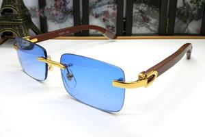 Occhiali da sole senza montatura in legno di corno di bufalo bianco di lusso occhiali da sole 2019 nuovi stili di occhiali da sole firmati di marca della Francia per le donne degli uomini con la scatola