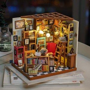 Robotime DIY Dollhouse Sam Study Room Wood Miniature Model Kits Decoration Birthday Gift for Girls MX200414