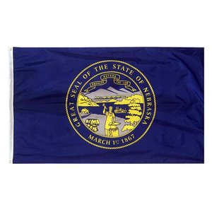 Nebraska State État du pavillon NE Drapeau 3x5FT bannière 100D 150x90cm oeillets en laiton polyester drapeau personnalisé, Livraison gratuite
