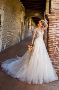Vintage Long Sleeve Wedding Dresses A-line Long Sleeves Neck Lace Appliques Beaded Tulle Beach Bridal Gowns Custom Made Vestido De Novia