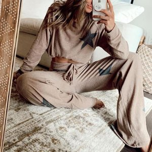 2020 new women's casual chic stars tracksuit female summer two-piece suit long-sleeved pants at home