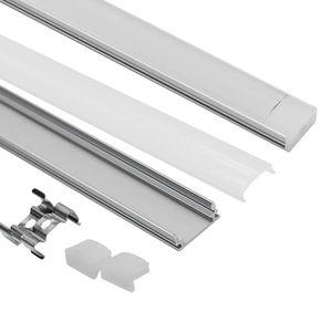 U شكل قناة الألومنيوم LED مع غطاء ، قبعات نهاية و تركيب مقاطع من الألومنيوم Profile