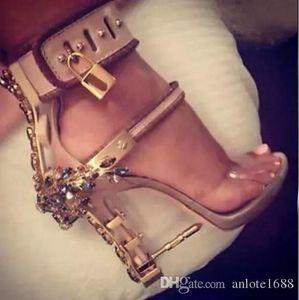 Transparent PVC Gladiator Sandals Women Padlock Spiked High Heels Pumps Colorful Crystal Beaded Rihanna Dress Wedding Shoes Original Box