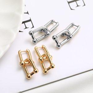 Minimalist Creative Hoop Earrings For Women Chic Stylish Geometric Brass Earring Removable Buckle Celebrity Jewelry