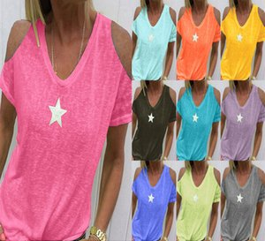 2019 femme col V étoile à cinq branches T-shirt imprimé tricot femmes sexy t-shirt graphique t gris chemise rose t-shirts Casual Hauts T-shirts Tenues Shirts