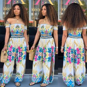 Printed Clothing Women Characteristic Print Suits Summer Sexy Strapless 2pcs Casual Suits Beach Fashion