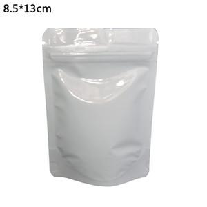 8.5 * 13cm 화이트 광택 스탠드 알루미늄 호 일 포장 가방 100pcs / lot Doypack 우편 번호 자물쇠 식품 진공 보관 가방 Mylar 주머니 지퍼 상단 가방
