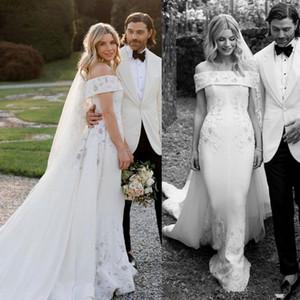 2020 spazzata elegante della sirena abiti da sposa treno Ricamo A spalle Paese abito da sposa su ordine Abiti da sposa Robes de mariée 4562