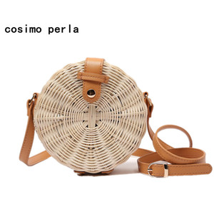 Wicker Circular Rattan Circle Handmade Straw Beach Bags Boho Bali Style Small Crossbody Purse for Women 2019 Summer Woven Round Shoulder Bag