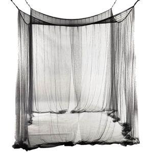 Queen / Kral ölçekli Oda için yeni 4-Köşe Yatak Netleştirme Canopy Cibinlik 190 * 210 * 240cm (Siyah)