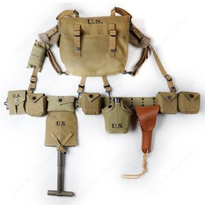 WW2 US ARMY EQUIPMENT COMBINATION M36 BAG X-STRAPS BELT T-SPADES WITH COVER 1911 HOLSTER KETTLE