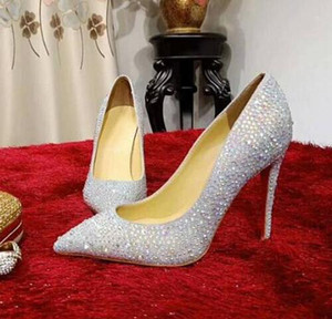 Luxury New Womens Redbottom High Heel 10CM Pumps Pointed Toes Rhinestone Party Dress Real Leather Ladies Shoes SZ35-42