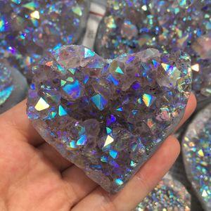 Природный аура аметист кварцевый кластер в форме сердца исцеления драгоценных камней