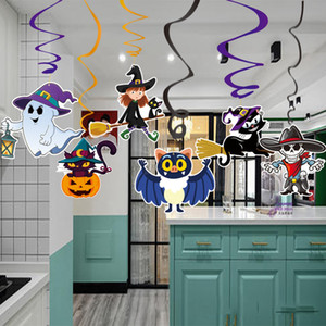 6 teile / satz Cartoon Halloween Dekorationen Anhänger PVC Spirale Anhänger Party Haunted House Hängen Girlande Anhänger Kürbisse LJJA3003