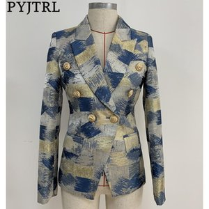 PYJTRL Women Fashion Blazer Jacket Double Breasted Colors Painting Jacquard Blazer