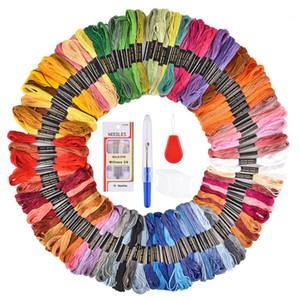 50/100 Renkler Nakış Konu Ipi Çapraz Dikiş Ipliği Kalem İğne Hoop Kiti DIY Dikiş Kumaş Skeins Craft Set aksesuarları
