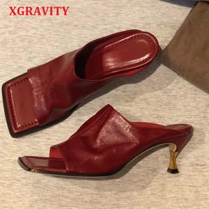 XGravity Top Vintage Calidad de tacón alto Zapatos de verano plaza atractiva manera de las señoras del dedo del pie noche de las mujeres sandalias de la señora deslizadores de los zapatos