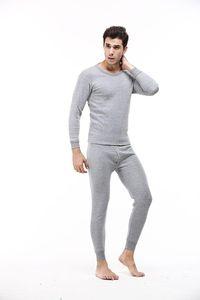 Inverno Mens Pijamas Suits cor sólida T-shirts calças compridas 2pcs Roupa Define Sets Bottoming pijama