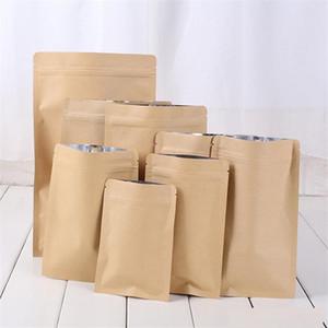11 Boyutları torba yeniden kapatılabilir zip kilit kavrama conta gıdada torba folyo ambalaj kağıdı alüminyum ayağa torba folyo kahverengi kraft fermuar