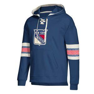 New York tasarımcı hoodies Rangers Forması Dantel-Up Kazak Ekleme Beraberlik Dize Ile Tam Kollu Hoodie Mavi Dikişli marka Logo