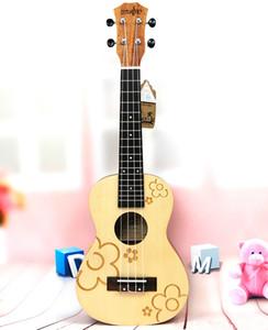 "21 "" Concert Spruce Small Flowers ukulele 4 Strings ukelelele Hawaii mini small guita travel acoustic guitar Uke Concert"