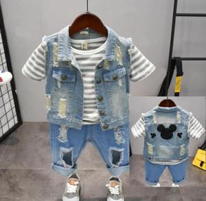 Vêtements pour enfants Summer Set neww enfants tout-petits vêtements en coton Denim veste + rayé T-shirt + short Ripped 3pcs / set Pour Boy 2-7y