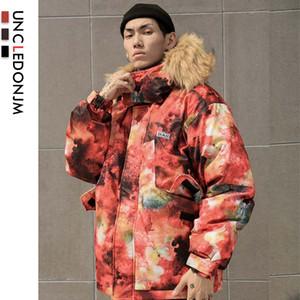 UNCLEDONJM Yastıklı Kapşonlu Parkas Coats Kış Moda Kalın Sıcak Parka Ceket Streetwear Hip Hop BM-W126 Tops