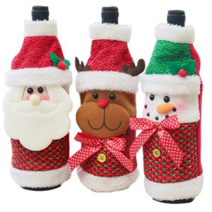 NewChristmas Decorations Santa Claus Wine Bottle Cover Snowman Gift Holders Xmas Navidad Decor New Year Dinner Party Table Decor