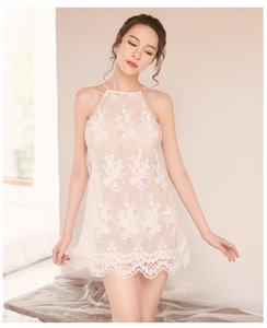 2020 New Womens Designer Sexy Pyjamas Summer Sexy Camisole Perspective Nightdress Fashion Lace Backless Ladies Underwear