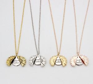 Sunflower Halskette Valentine Geschenk GoldLocket Can Open-Anhänger-Halskette Sie sind mein Sonnenschein Gravierte Claviclekette für Frau Geschenk
