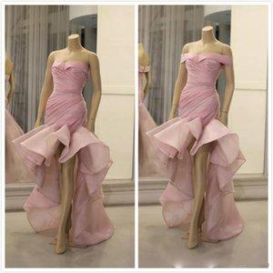 Aso Ebi 2020 Arabisch Stilvolle rosa Abendkleider Schatz-Nixe-Organza-Abschlussball-Kleider formale Partei Bridesmaid Pageant Kleider ZJ492
