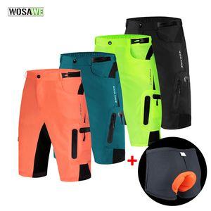 WOSAWE Baggy Shorts Hommes Cyclisme VTT VTT de vélo desserrées Short de descente avec coussin à vélo Sous-vêtements Pantalons d'équitation