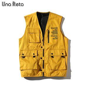 Una Reta Hip Hop Vest Men New Arrivals Multiple Pockets Cargo Vest Core Sleeveless Jacket Men's Streetwear