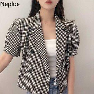 Neploe Plaid Women Blazers Puff Short Sleeve Notched Collar Suit Jacket 2020 New Double Breasted Slim Short Blazer Coat 4B981